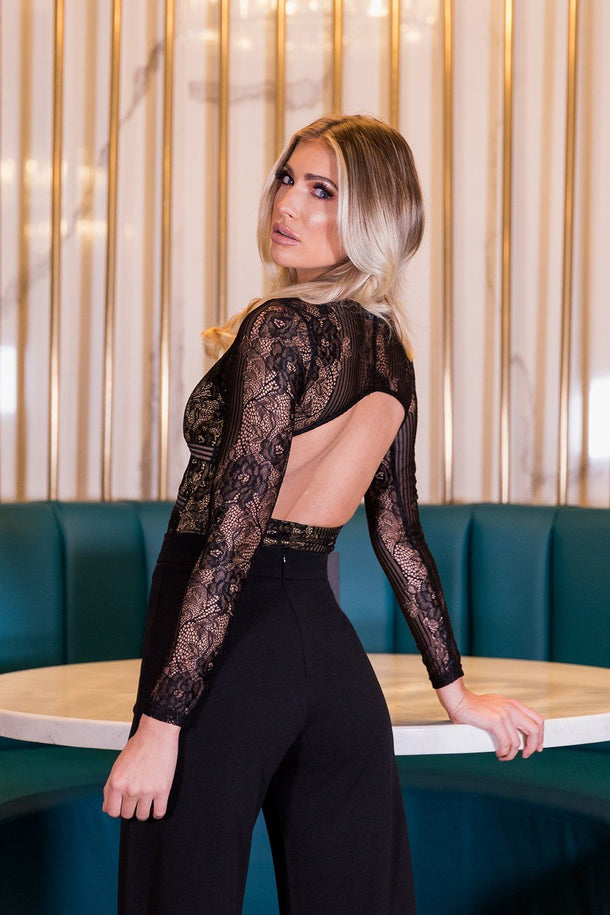 Lottie Long Sleeve Keyhole Back Bodysuit in Black