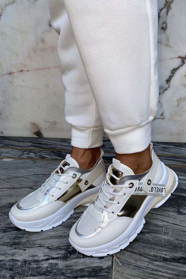 Laura Love Trainer in White and Gold