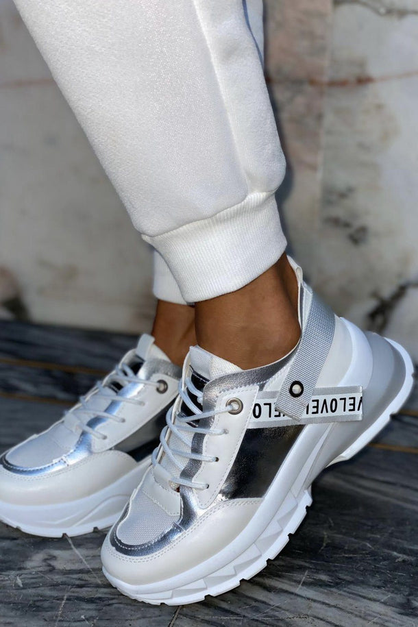 Laura Love Trainer in White and Silver