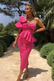 Michelle Bardot Midi Two-Piece in Hot Pink