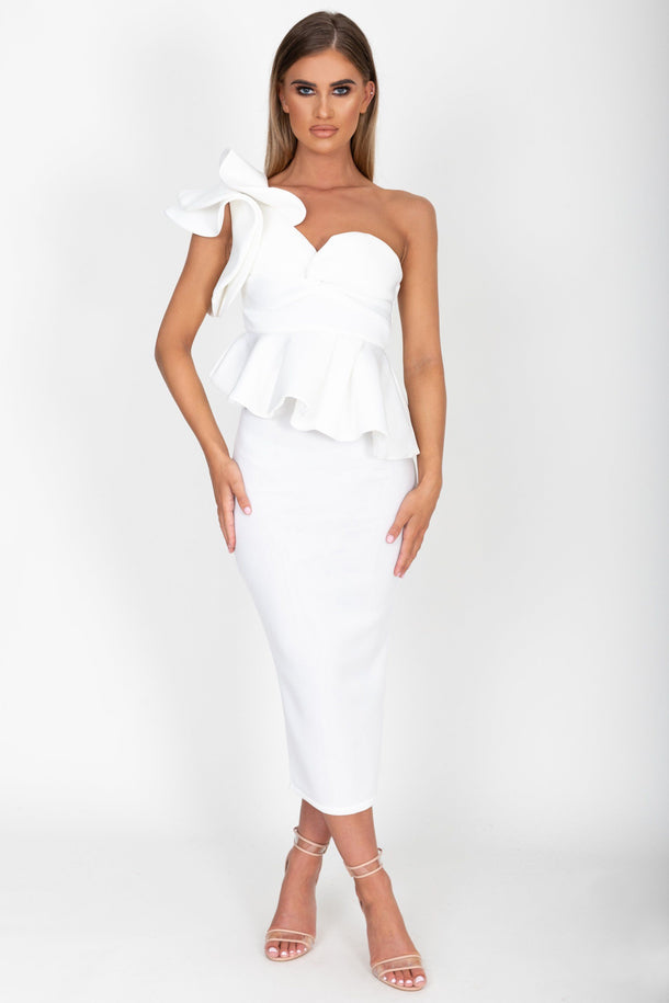Michelle Midi Dress in Ivory