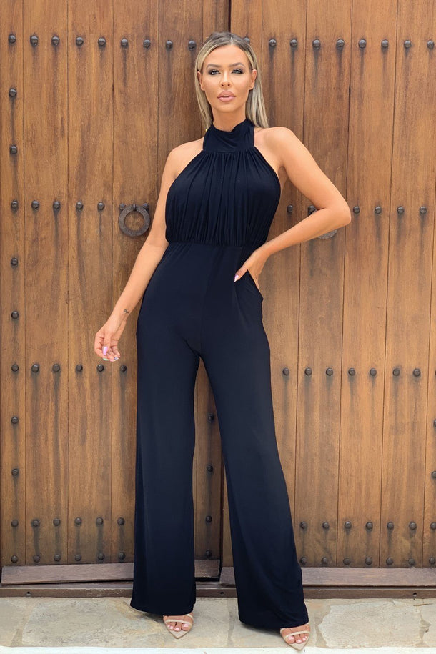 Nadia Halter Neck Jumpsuit in Black