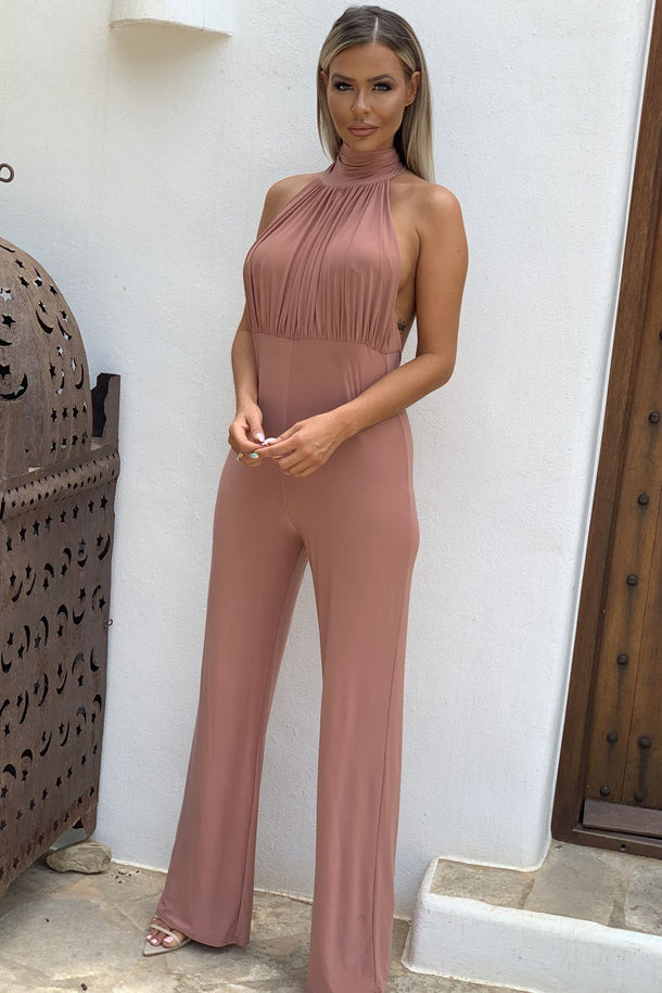 Nadia Halter Neck Jumpsuit in Pink
