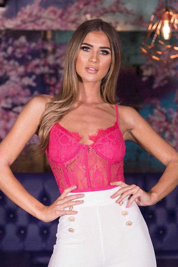 Naomi Lace Body Suit in Hot Pink