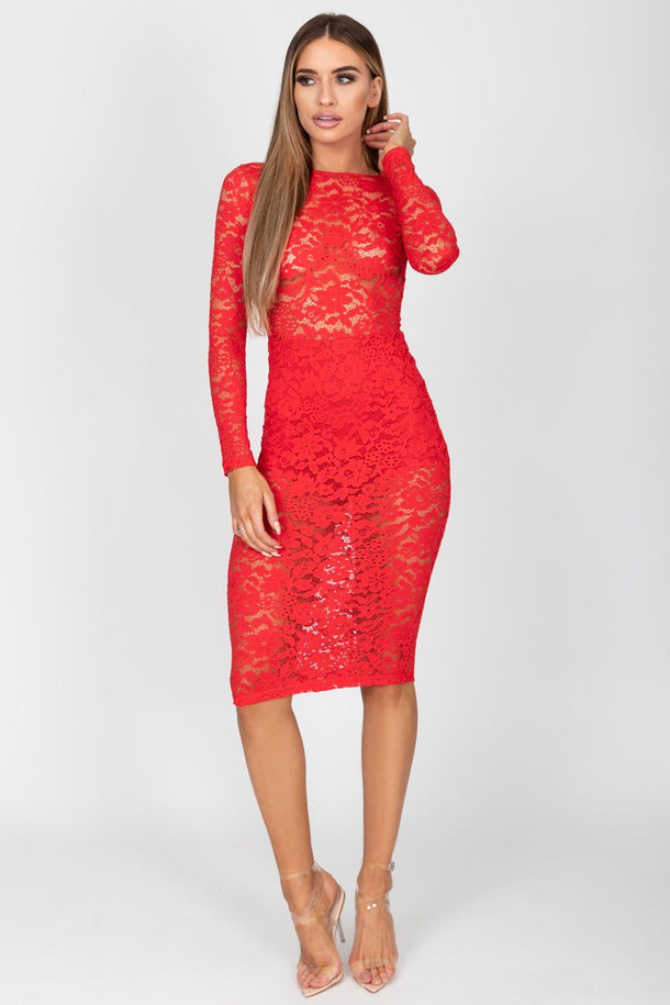 Noah Lace Midi Dress in Red