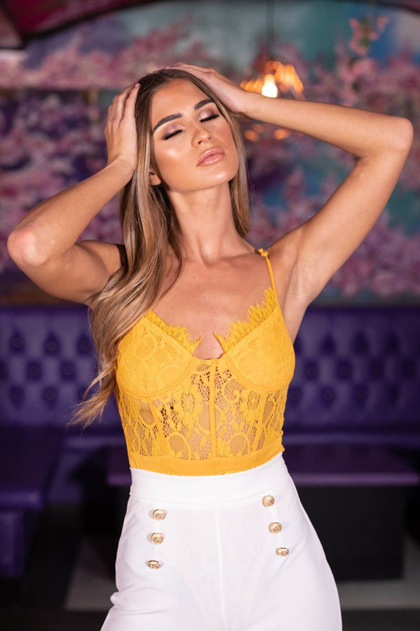 Naomi Lace Body Suit in Mustard
