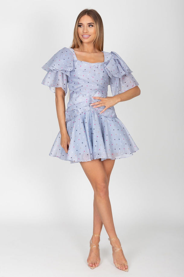 Nori Polka Dot Ruffle Sleeve Mini Dress in Light Blue