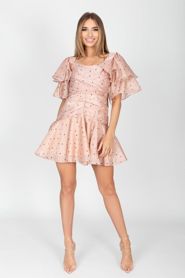 Nori Polka Dot Ruffle Sleeve Mini Dress in Blush