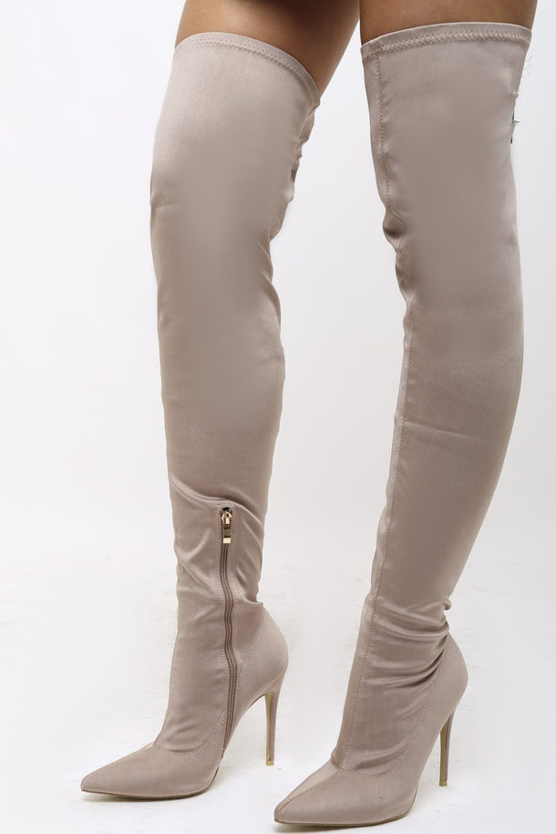 Olivia Lycra Over the Knee Boots in Mocha