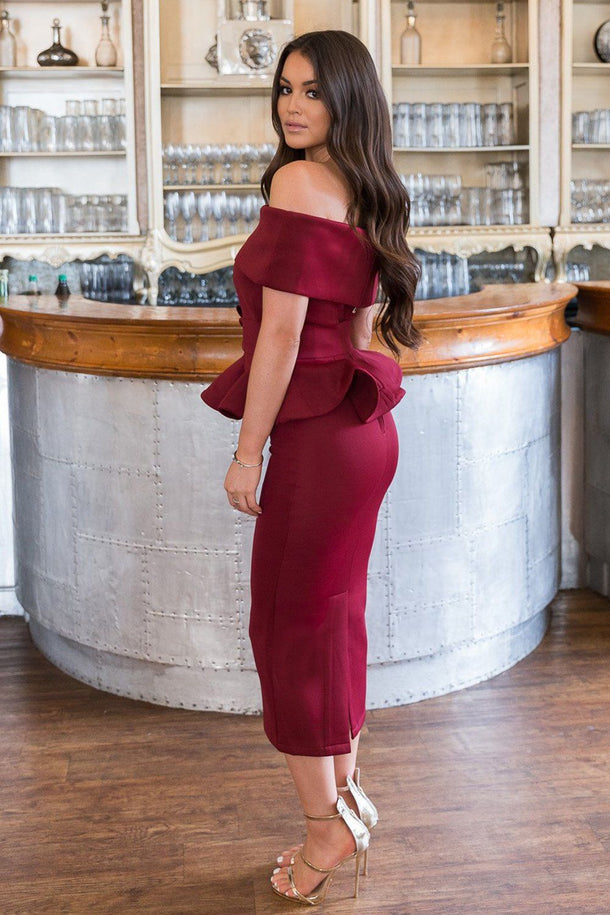 Tammy Bardot Midi Two-Piece in Burgundy
