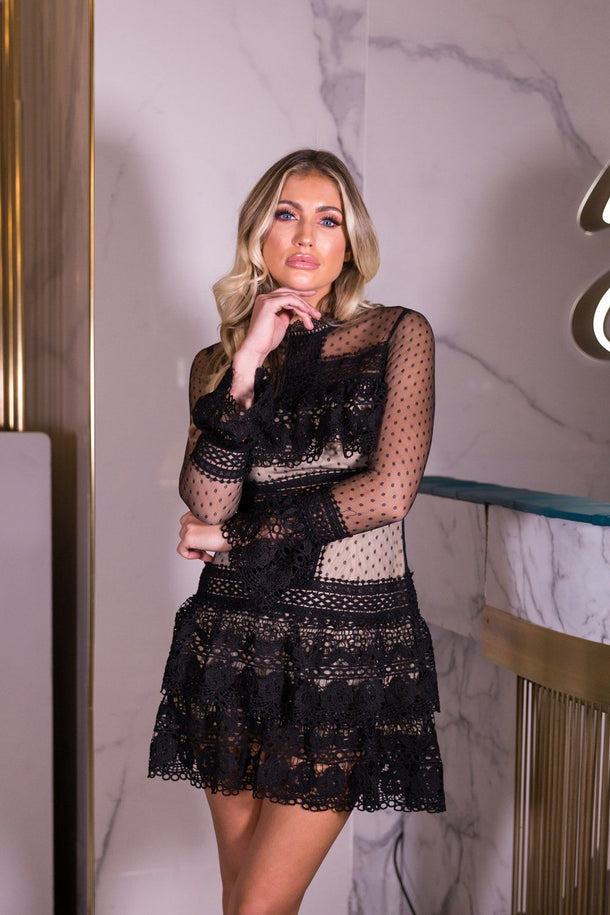 Rachel Black Lace Long Sleeved Dress