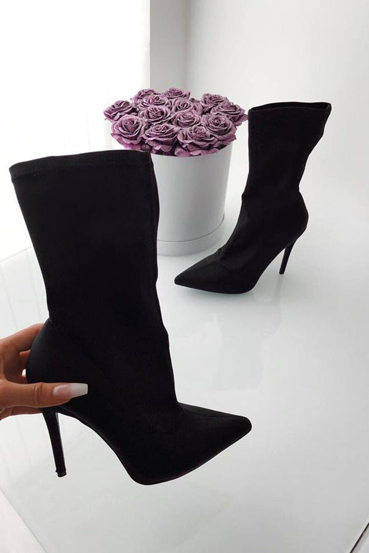 Isabella Sock Fit Stiletto Ankle Boots in Black