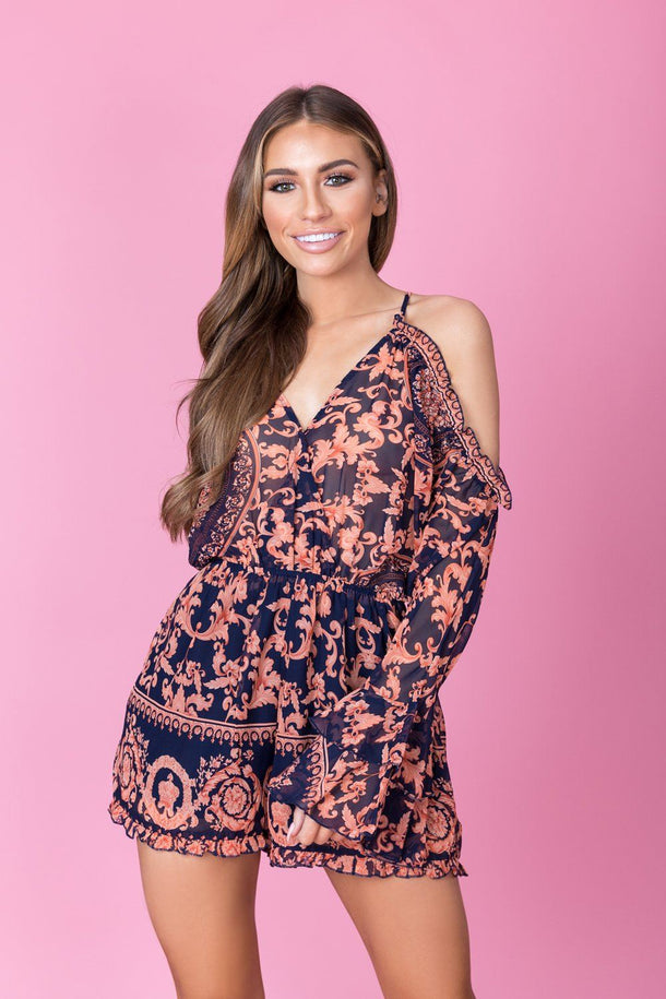 Riley Print Playsuit in Blue/Pink