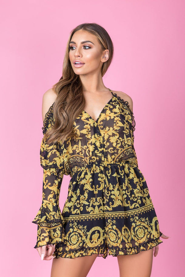 Riley Print Playsuit in Black/Gold
