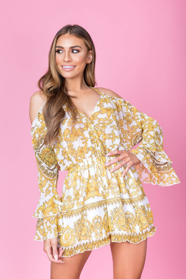 Riley Print Playsuit in White/Gold