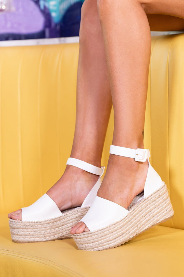 Sara Espadrille Wedge in White