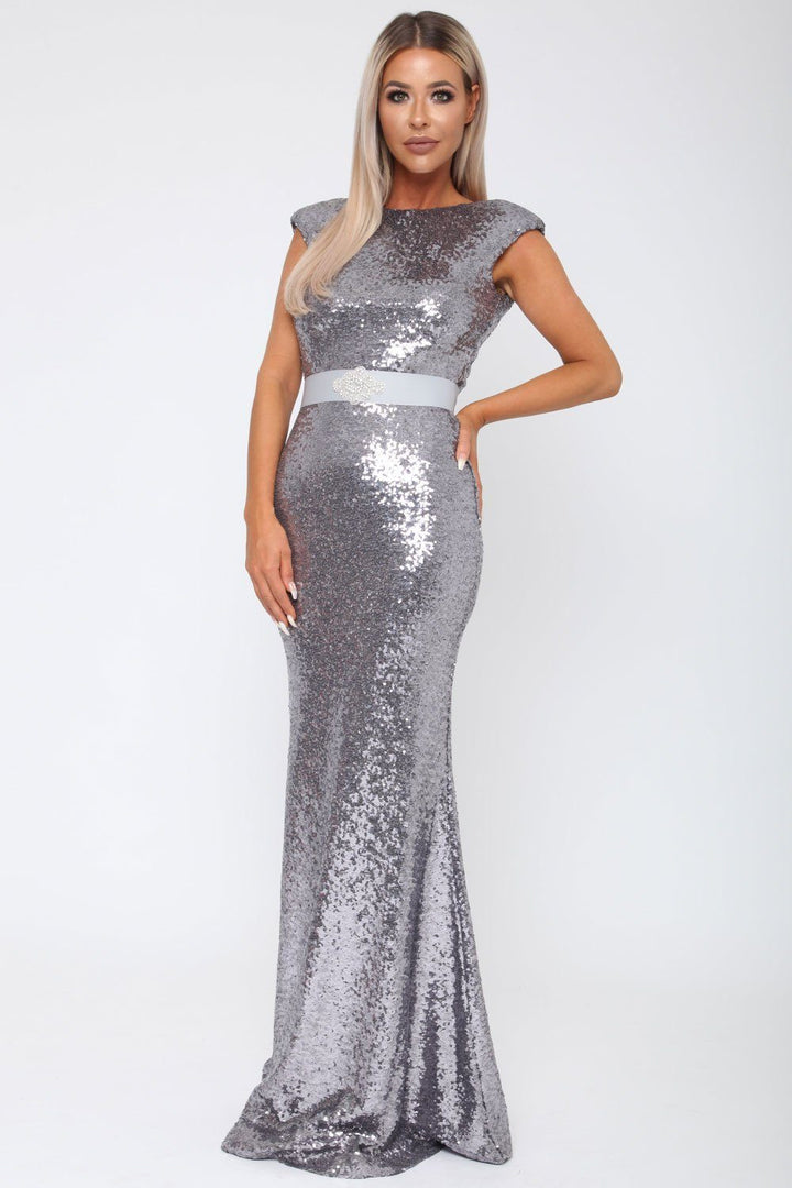 Sequin V Back Gown in Charcoal