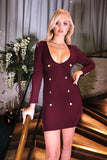 Sian Button Mini Dress in Plum