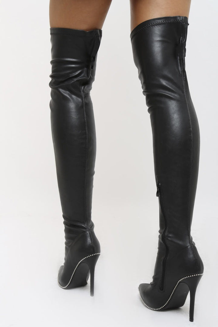 ad7f9c3c374f Sophia PU Stiletto Heeled Over the Knee Boots in Black – Cari s Closet