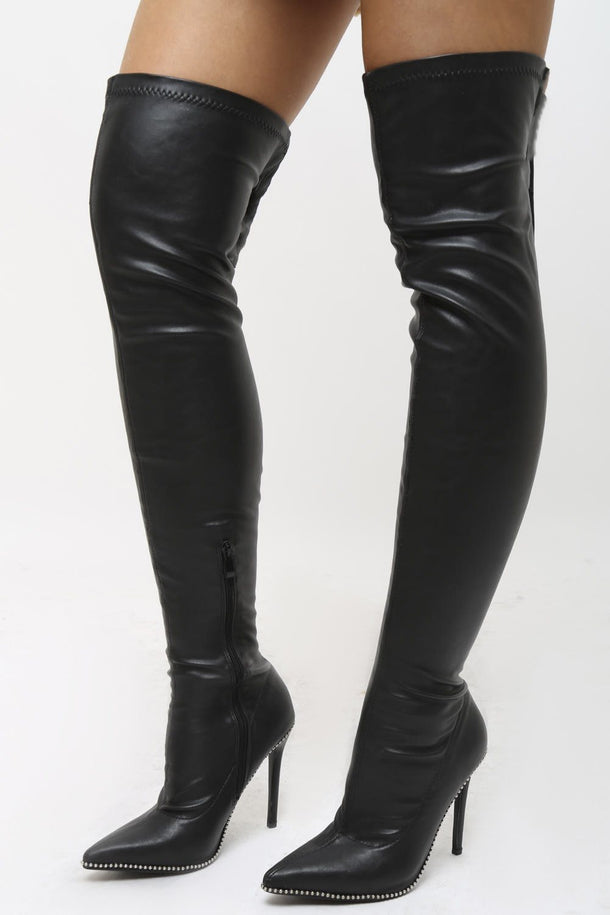 Sophia PU Stiletto Heeled Over the Knee Boots in Black
