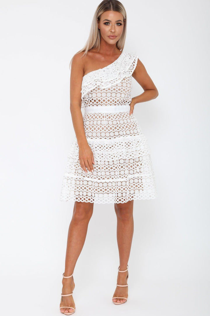 78b1aea1c1 Tobi One-Sleeved Dress in White – Cari s Closet