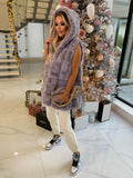 Jade Hooded Faux Fur Gilet in Grey