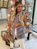 Lauren Faux Fur Gilet in Grey