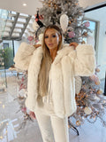 Coco Luxury Faux Fur Coat in White
