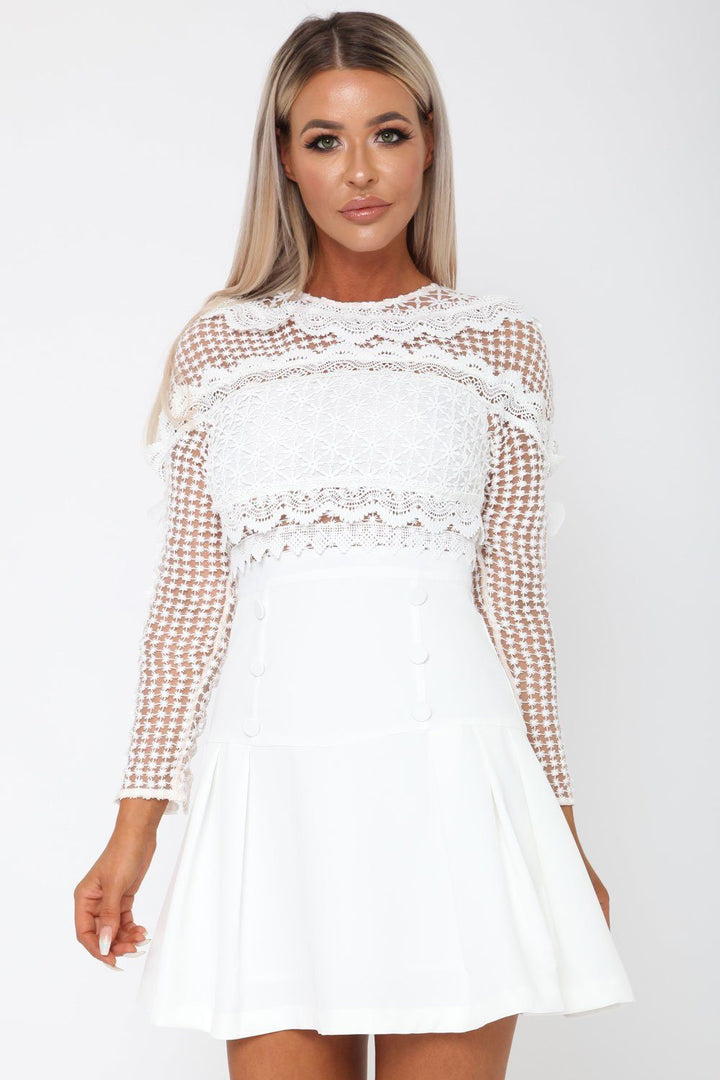 Gloria Long Sleeve Lace Mini Dress