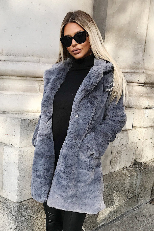 Zara Grey Faux Fur Jacket