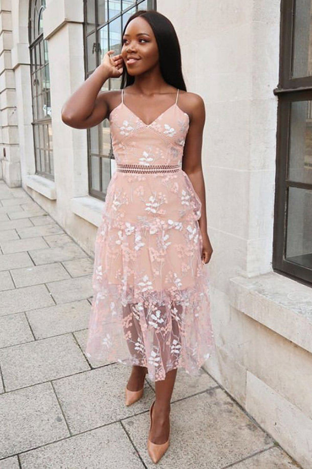 Zoey Lace Floral Dress in Blush