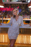 Anastasia Sequin Dress in Silver