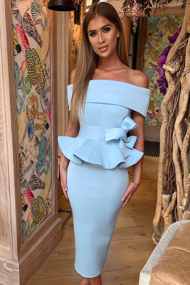 Tammy Bardot Midi Two-Piece in Baby Blue
