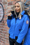 Blue Cropped Faux Fur Trim Parka