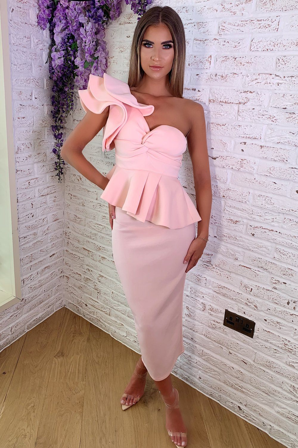 11341b29a09 Michelle Bardot Midi Two-Piece in Blush