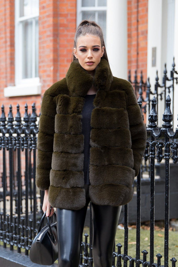 Candice Collared Faux Fur Jacket in Green