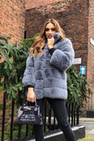Candice Collared Faux Fur Jacket in Grey