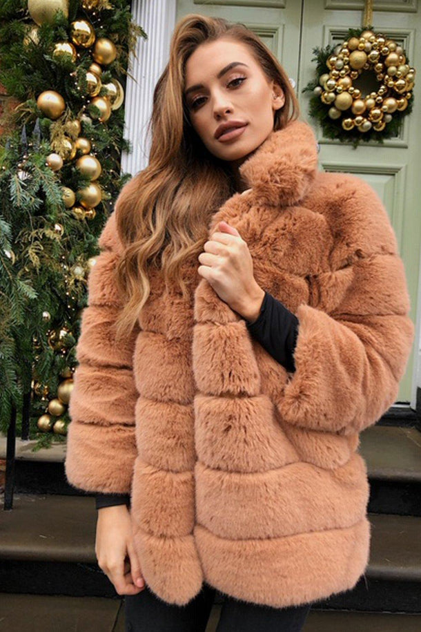 Candice Collared Faux Fur Jacket in Tan