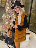 Lauren Faux Fur Gilet in Caramel