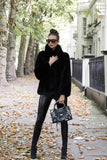 Carter Collared Faux Fur Coat in Black