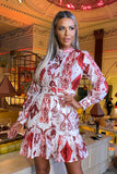 Chantelle Print Belted Dress in Red and White