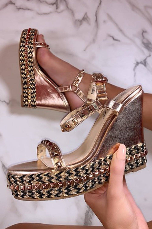 Ciara Studded Wedges in Rose Gold