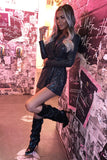 Coco Knee High Oversized Boots in Black