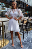 Danielle Pleated Dress in White