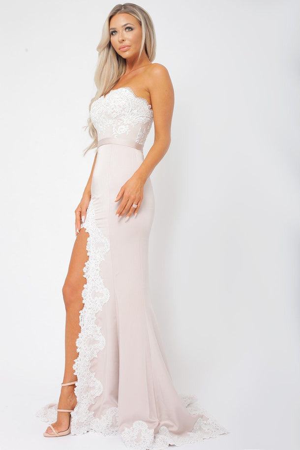 Demi Blush & White Lace Gown