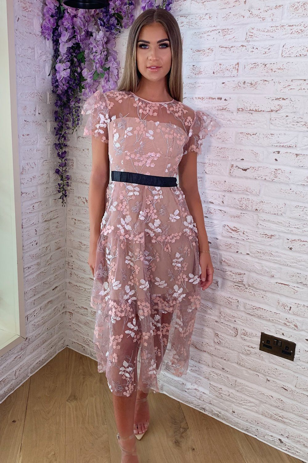 1d4db085cf Eleanor Lace Floral Dress in Pink