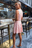 Elise Lace Dress in Peach
