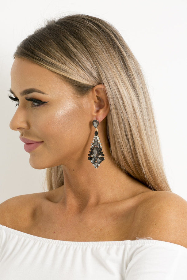 Faye Earrings in Black & Silver