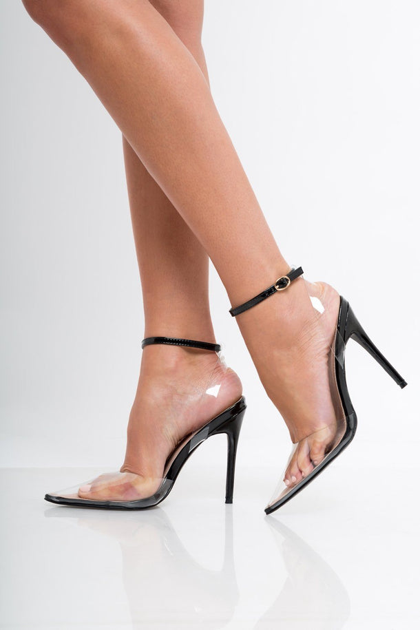 Mia Perspex Extended Point Stilettos in Black