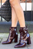 Gemma Patent Croc Heeled Boot in Wine